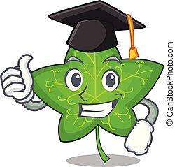 Graduation green ivy leaf on character cartoon