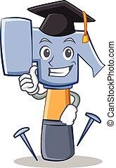 Graduation hammer character cartoon emoticon