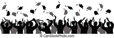 Graduation. Happy students graduates toss up caps. Silhouettes, vector illustration.