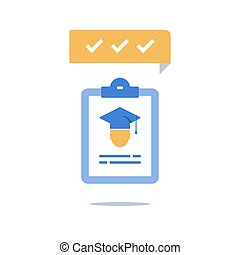 Education program, graduation hat and clipboard, check knowledge, exam preparation, training coarse enrollment, scholarship concept, vector icon