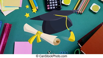Digital animation of Graduation hat and diploma icon over various school items against green background