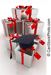 graduation hat and gifts on a white background