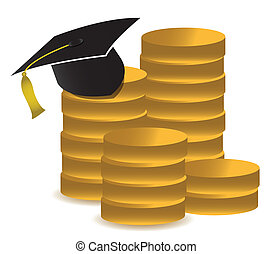 graduation hat and money illustration design over white