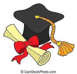 Graduation hat and scroll - isolated illustration.