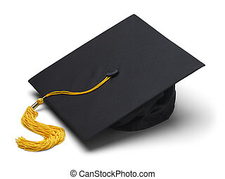 Graduation Hat - Black Mortar Board Cap with Yellow Tassel...