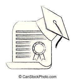 graduation hat certificate school paper