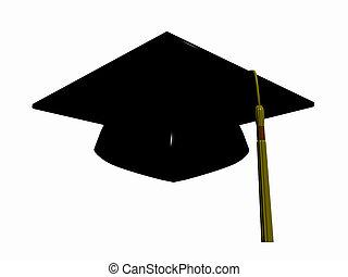Graduation hat over white, 3D render illustration.