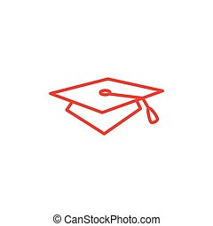 Graduation Hat Line Red Icon On White Background. Red Flat Style Vector Illustration.
