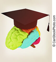 graduation hat on brain. 3D illustration. Vintage style.