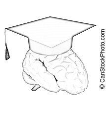 graduation hat on brain