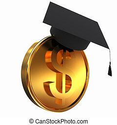 Graduation hat on gold dollar coin
