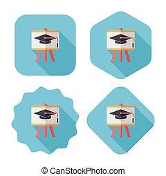 Graduation hat on the blackboard flat icon with long shadow...