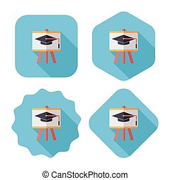 Graduation hat on the blackboard flat icon with long...