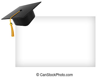 Graduation hat on white background - Graduation Hat Academy...