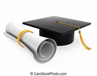 Graduation hat on white background - Graduation hat / board...