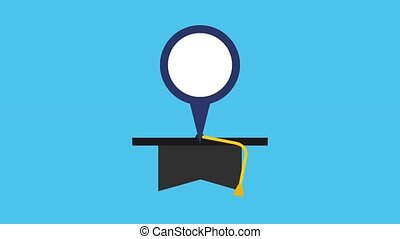 graduation hat pointer map england flag animation