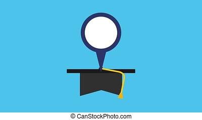 graduation hat pointer map england flag animation