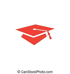 Graduation Hat Red Icon On White Background. Red Flat Style Vector Illustration.