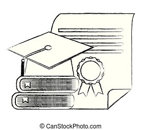 graduation hat stack books and diploma