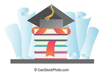 Graduation hat vector illustration