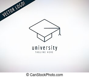 Graduation Hat vector logo icon. Education, students or school and college symbol. Stocks design element.