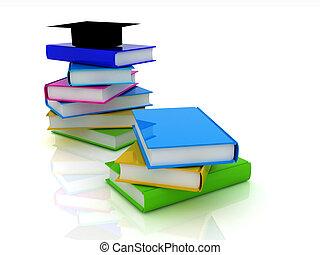 Graduation hat with books