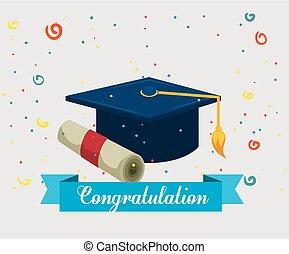 graduation hat with diploma
