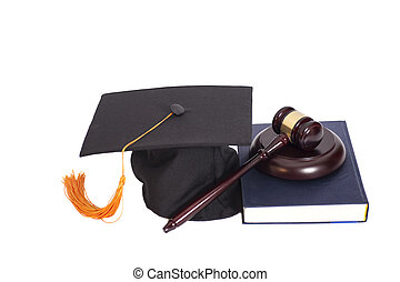 Graduation Hat with Judge gavel and book