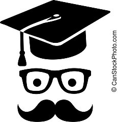 Graduation hat with mustache and glasses