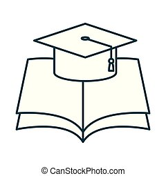 graduation hat with text book