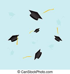 Graduation hats in the air vector illustration, graduate caps trowing up in sky, flying academic hats