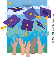 Graduation Hats - Multicultural Hands throwing mortarboards...