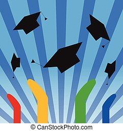 Graduation Hats Throwing High