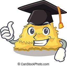 Graduation hay bale character cartoon vector illustration