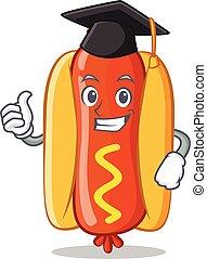 Graduation Hot Dog Cartoon Character