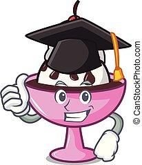 Graduation ice cream sundae character cartoon vector...