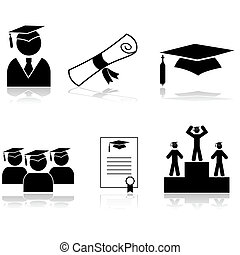 Graduation icons - Icon set showing students graduating from...