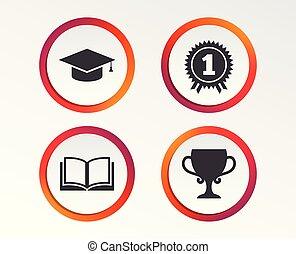 Graduation icons. Education book symbol. - Graduation icons...