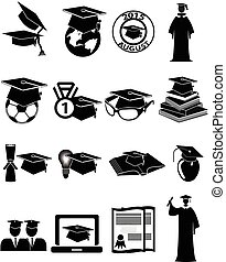 Graduation icons set