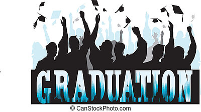Graduation in silhouette in celebration with students
