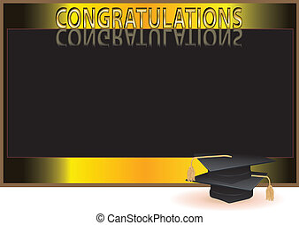 Graduation invitation card with mortars 20011 vector