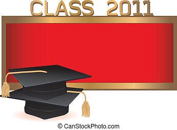 Graduation invitation card with mortars - Graduation class...