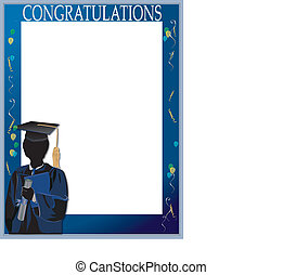Graduation invitation card with silhouette