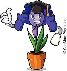 Graduation iris flower character cartoon