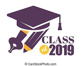 Graduation isolated greeting icon or logo education and...