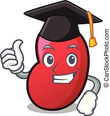 Graduation jelly bean character cartoon vector illustration