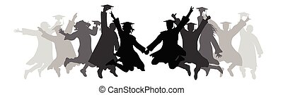 Graduation, jumping graduates in square academic caps, silhouettes. Vector illustration.