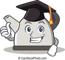 Graduation kettle character cartoon style vector...