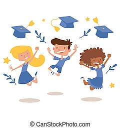 Graduation kids celebration with joy banner vector illustration. Diversity school kids jumping for joy and tossing their graduation caps in the air. Celebrating graduate day.