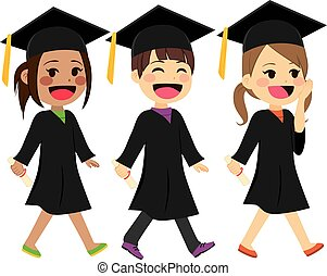 Graduation Kids Walking